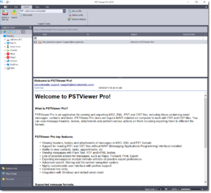 Main menu of EmlViewer Pro email viewing software.